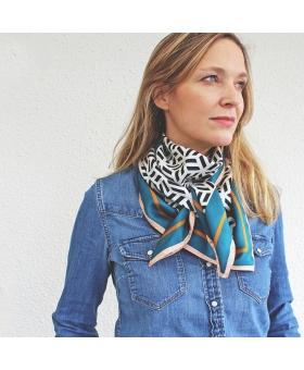 foulard en soie 90x90cm noir blanc et vert