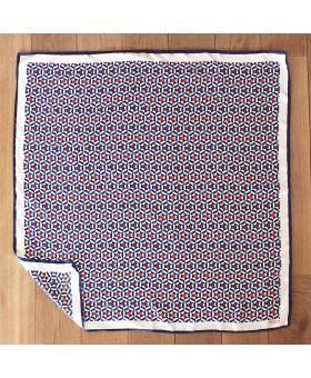foulard en soie 90x90cm bleu, blanc et rouge