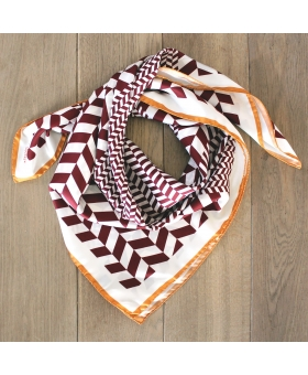 foulard en soie 90x90cm bordeaux et camel