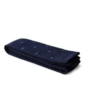 navy knitted tie with blue dots