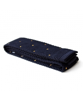 navy knitted tie with yellow dots