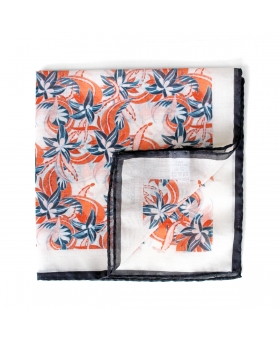 white cotton pocket square with flower pattern