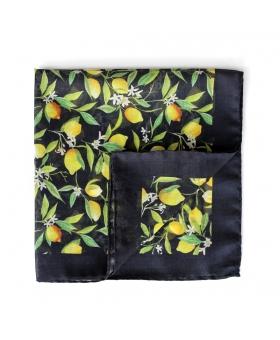 black pocket square with lemon pattern