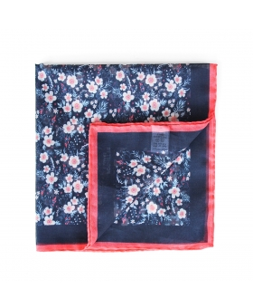 pocket square in cotton with flower pattern