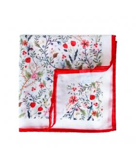 pochette de costume en coton blanc motif fleurs