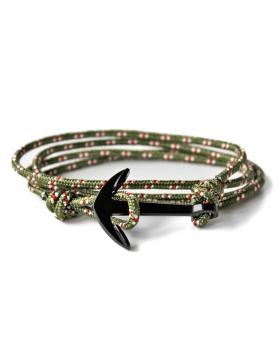 Bracelet Ancre - Kaki & Rouge