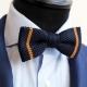 noeud papillon en tricot de coton marine à rayures ocre