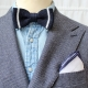 navy knitted bow tie with whote stripes