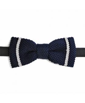 noeud papillon en tricot de coton marine rayé blanc