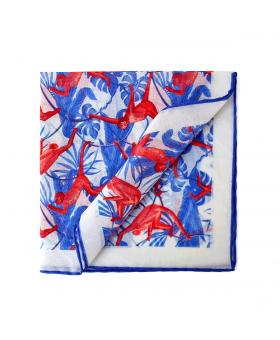 white pocket square with monkey pattern