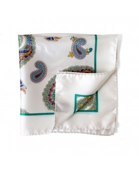 white pocket square with cashmere pattern