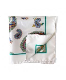 pochette de costume blanche motif cachemire