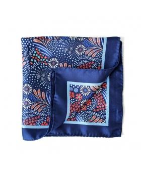 pochette veste costume fleurs bleues