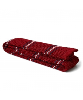knitted tie red with stripes