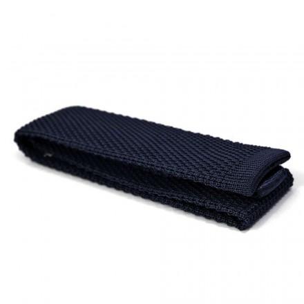 Cravate Tricot Soie Bleu Marine