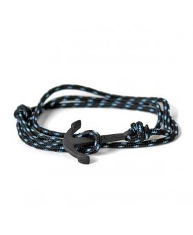 Bracelet Ancre - Noir à pois bleu