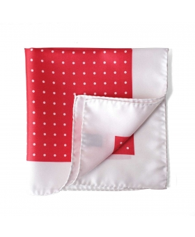 pocket square with coral and white polka dots