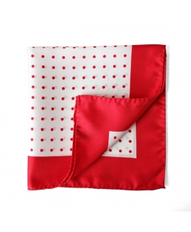 pocket square with red polka dots