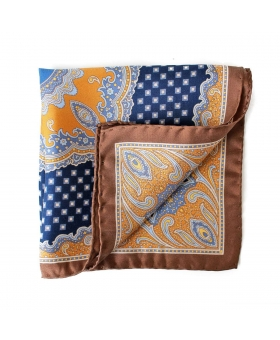 pocket square yellow blue brown