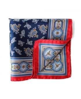 pocket square blue paisley