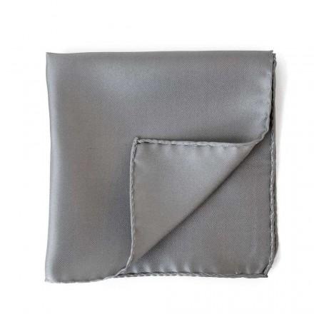 Grey Silk Pocket Square Plain
