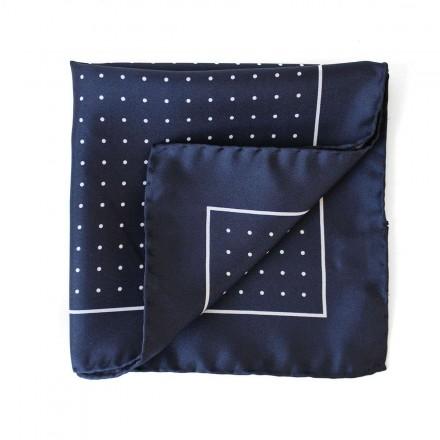 Navy Silk Pocket Square White Dots