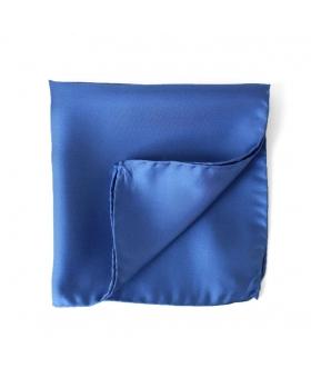 Pochette Costume Bleu Uni Soie