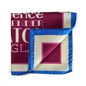 pochette de costume en soie violette et liser s beige et bleu. Black Bedroom Furniture Sets. Home Design Ideas