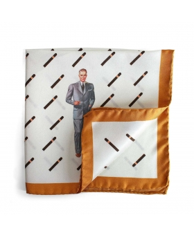 pocket square with cigars pattern