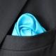 Pochette Costume Soie Bleu Turquoise