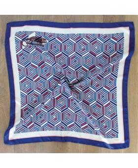 Foulard carré de soie bleu et rose