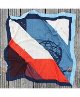Foulard carré en laine bleu blanc rouge