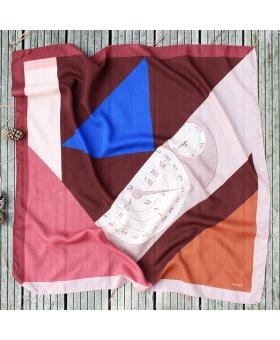 Foulard en laine rose et bordeaux