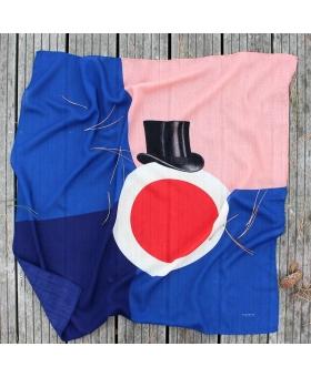Foulard en laine bleu et rose