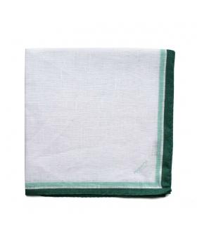 pochette en lin blanc liseré vert