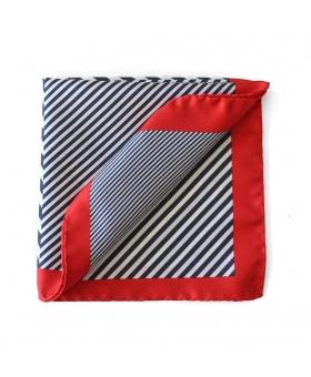 Pochette costume 4 en 1 Rayures bleu et rouge