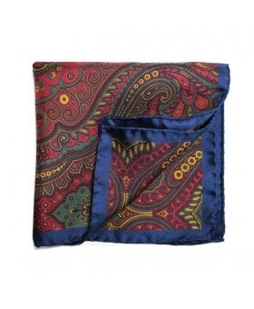 Pochette de Costume soie rouge et bleue
