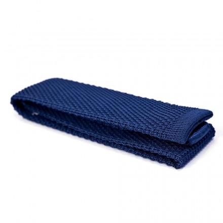 cravate bleu tricot de coton