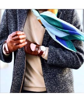 Foulard en laine vert bleu brun