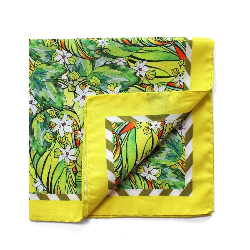 pochette de costume en coton verte et jaune motif fleuri. Black Bedroom Furniture Sets. Home Design Ideas