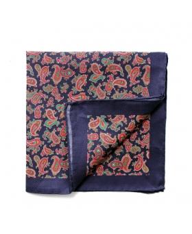 Pocket Square navy blue paisleys