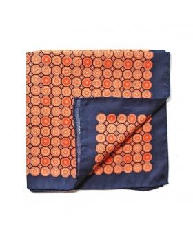 Pochette de Costume en coton motif médaillons oranges