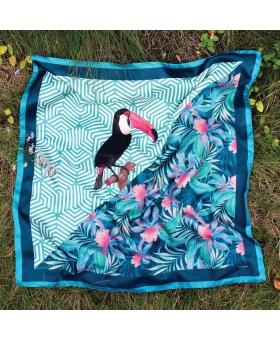 Foulard Soie turquoise palmier toucan