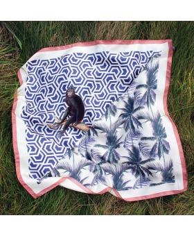 Foulard Soie bleu et rose motif palmiers et singe