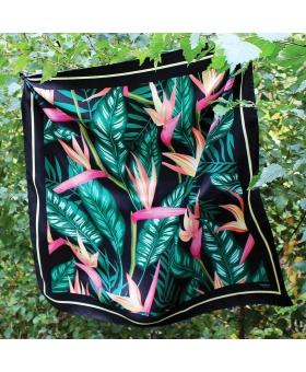 Foulard Soie noir à motif fleurs exotiques