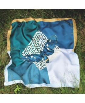 Foulard Soie bleu et vert avec dessin papillon