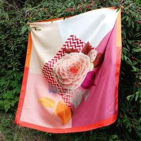 Foulard Soie - Dédale de Rose