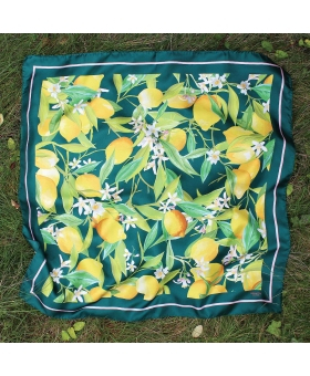 green Square Silk Scarf with lemon pattern