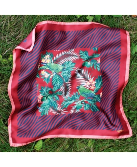 foulard soie rouge tropical