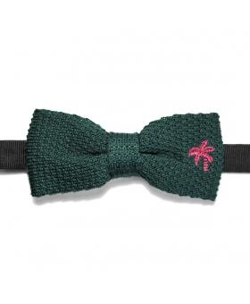 Noeud Papillon tricot vert avec broderie palmier